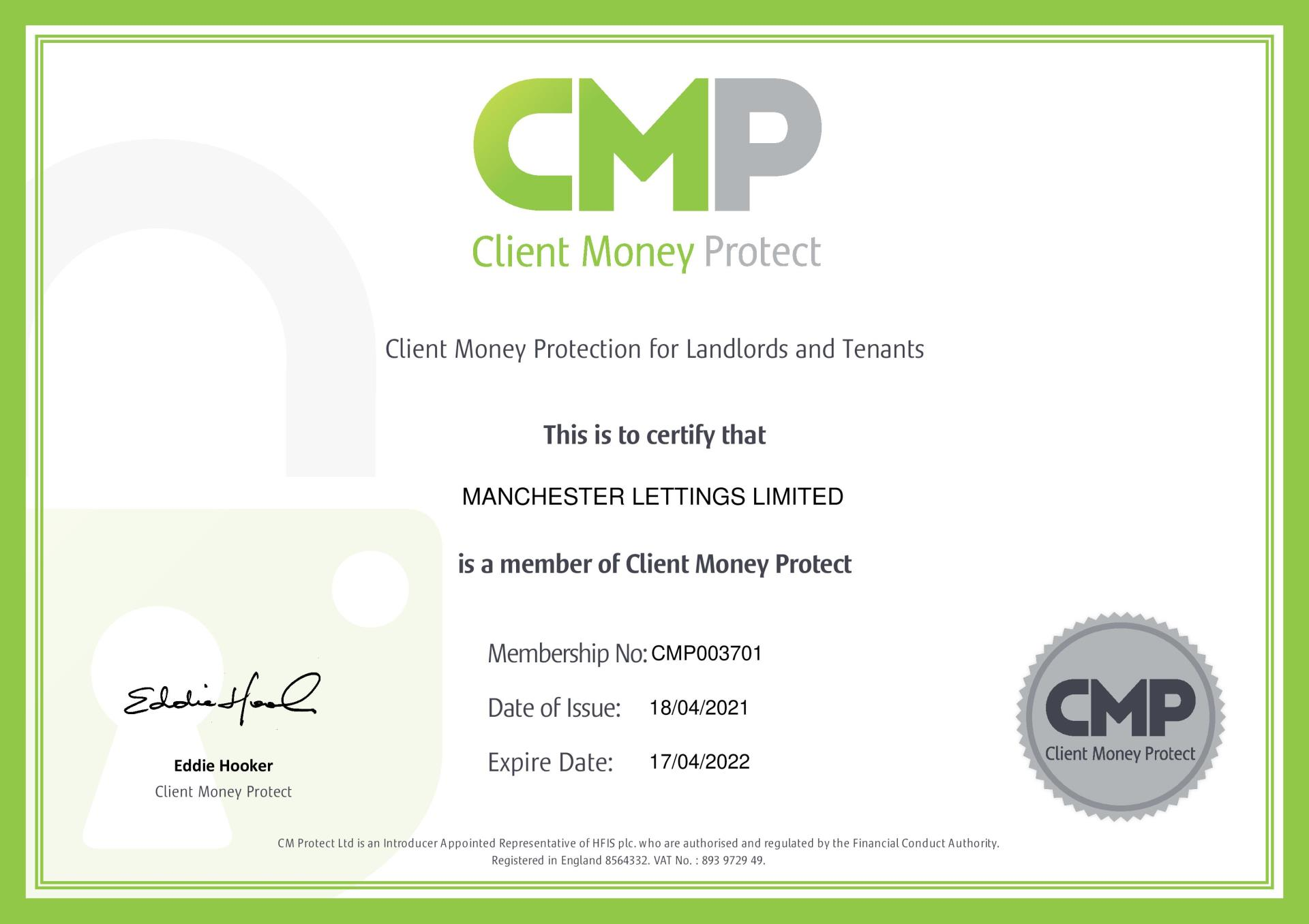 Manchester Lettings Ltd - Client Money Protection Certificate