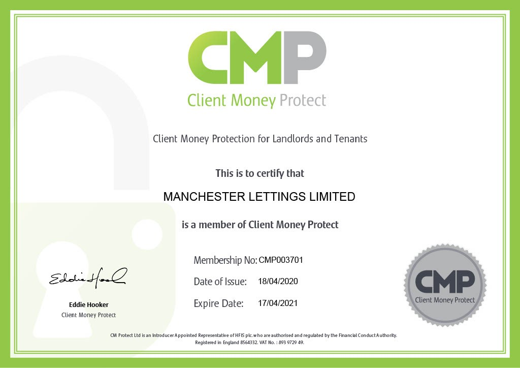 Manchester Lettings - Client Money Protection Certificate